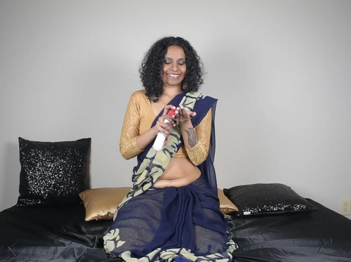 Indian Star Lily Massaging Her Belly With Lube