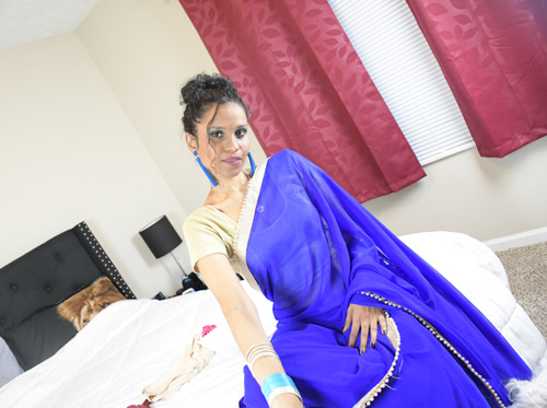 Charming Indian Porn Star Lily In Blue Sari