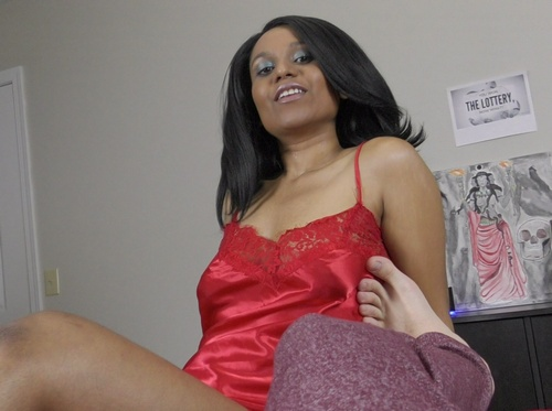 Horny Lily Giving Footjob In Red Babydoll Chemise